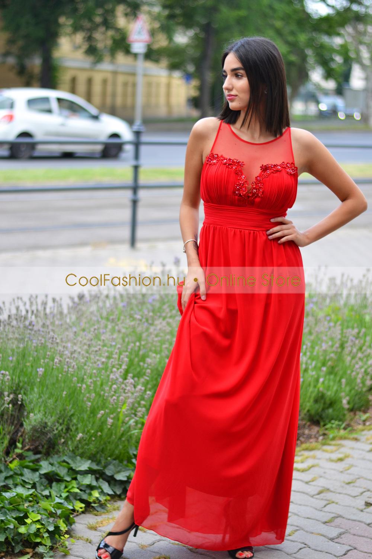 Köves csipkés-necc görög maxi ruha - Cool Fashion