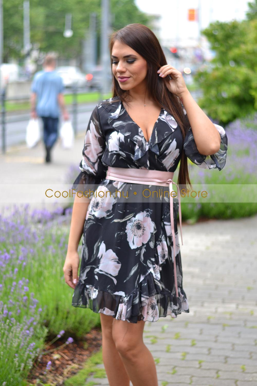 0f70ad92ae Muszlin virágos fodros ruha - Cool Fashion