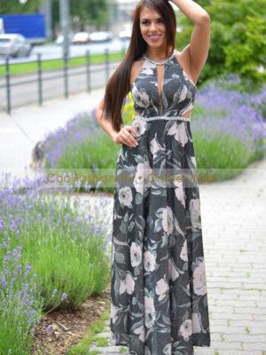 7a429f6769 Lurex virágos necces köves görög maxi ruha