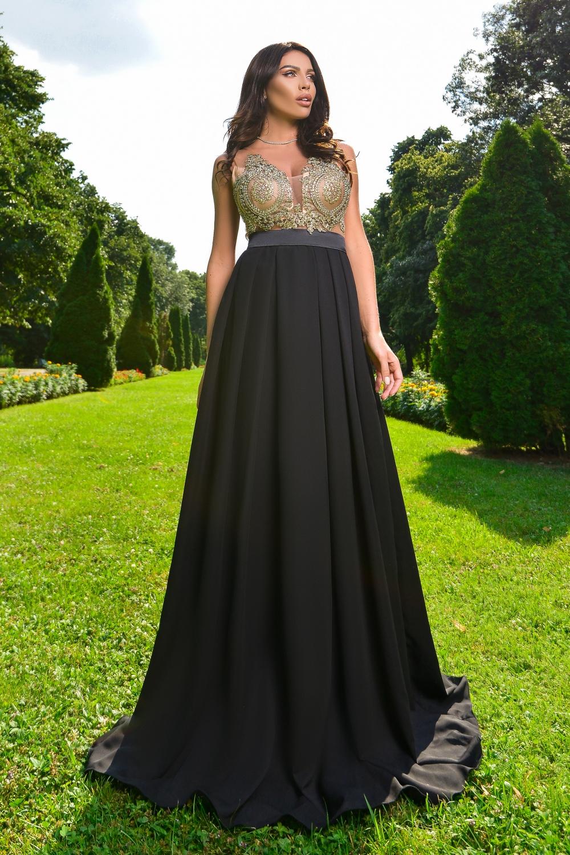 Fekete-nude köves maxi ruha - Cool Fashion