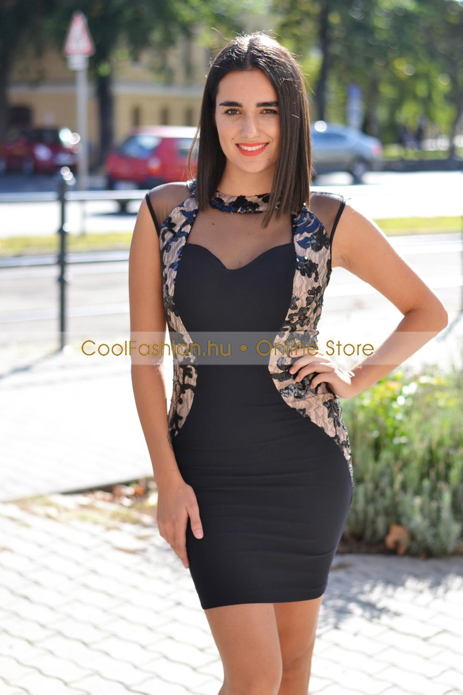 FV fekete-nude köves-flitteres ruha - Cool Fashion