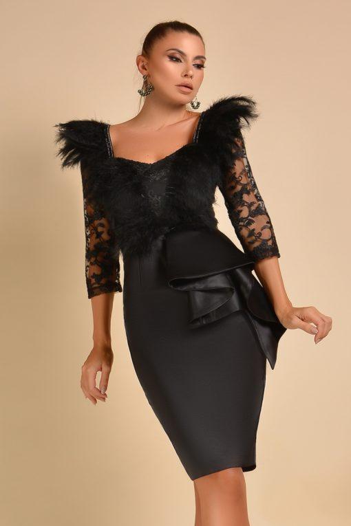 Fekete sexy tollas-csipkés ruha