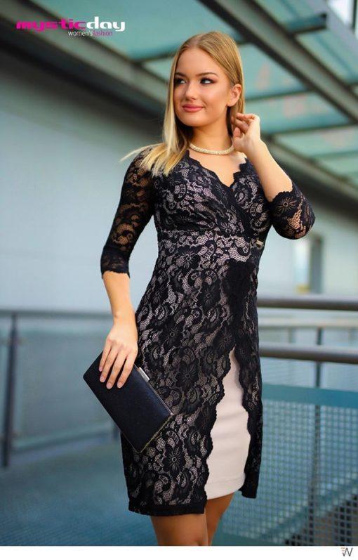 Trixi őszi fekete-nude 3/4 ujjas csipkés ruha