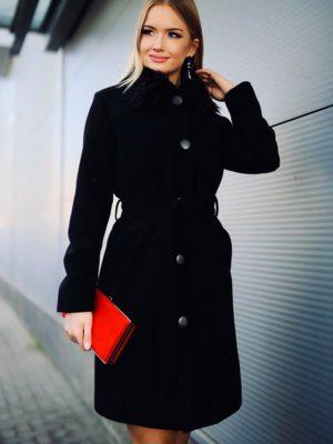 Szőrme galléros szövet kabát Cool Fashion