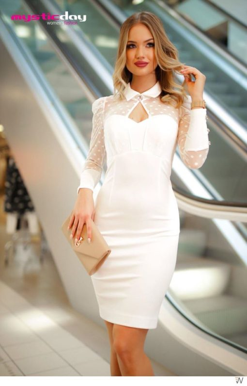 Stefani fehér puffos ujjú ruha