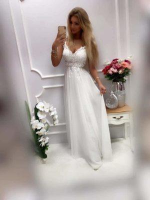 Marell tüllös flitteres fehér maxi ruha