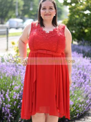 Peplumos piros molett muszlin ruha