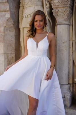 Fehér szatén elől rövidebb ruha