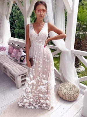 3D csipkés virágos fehér-nude maxi ruha