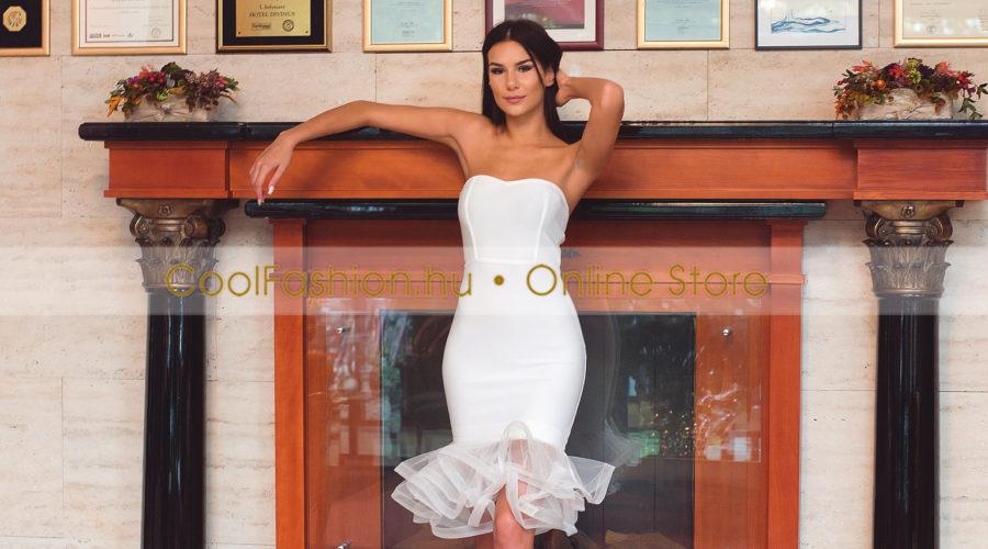 Fodros fehér bandage ruha
