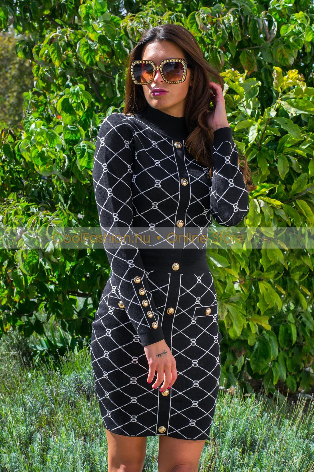 Fekete mente gombos dzseki Cool Fashion