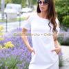 Egyenes fehér szabatlan ruha