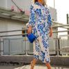Kék drapp mintás ingruha