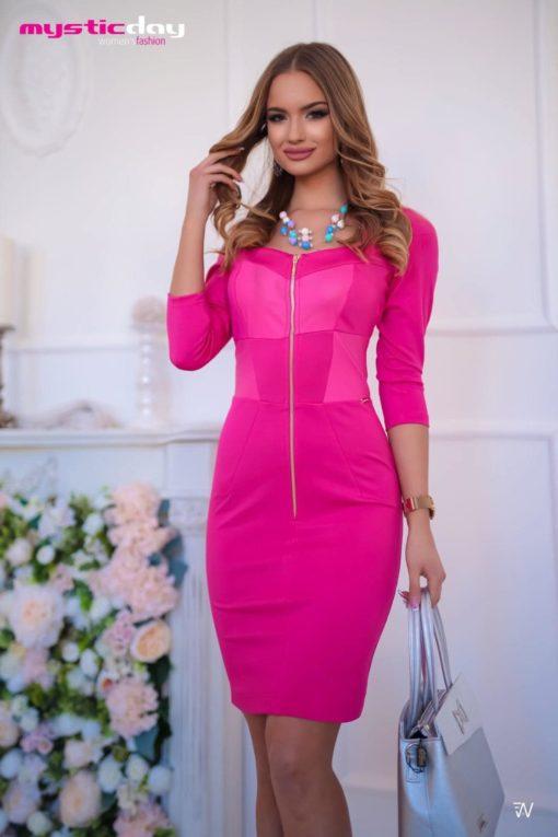 Zippes pink bőrbetétes ruha